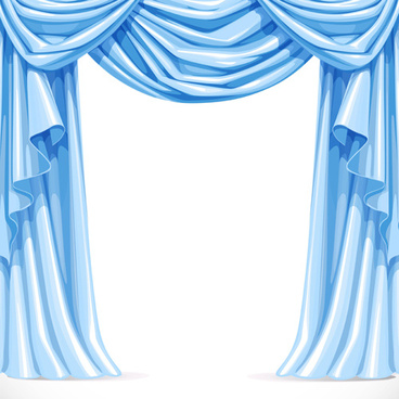 ornate curtains design vector set