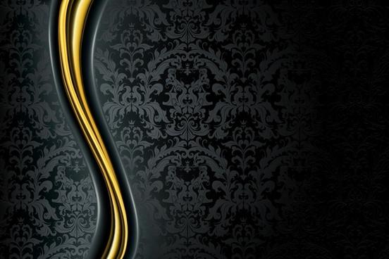 decorative background golden curves dark classic pattern