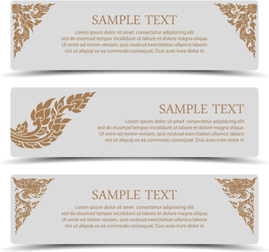 ornate floral banners vector set