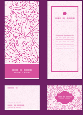 ornate floral banners with cards vector
