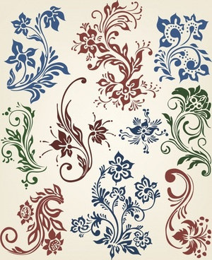 decor pattern design elements flowers icons classical curves