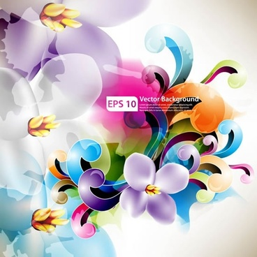 decorative background petals curves design bright colorful modern