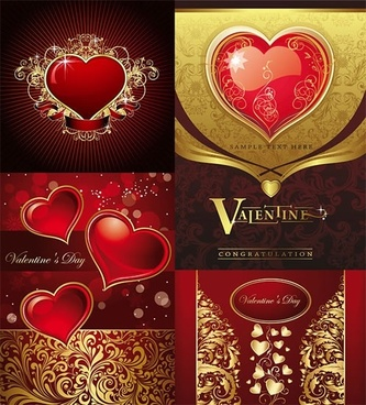 valentine background templates elegant shiny golden red hearts