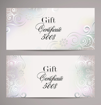 ornate gift certificates template vectors