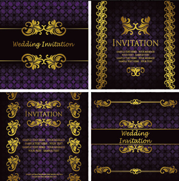 ornate gold ornament invitation card background vector