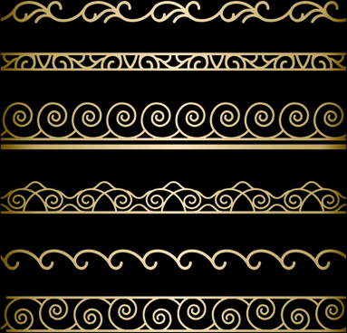 ornate golden borders ornament vector