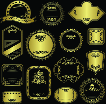 ornate golden labels vector