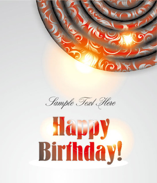 ornate happy birthday card background vector