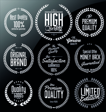 ornate high quality labels vector