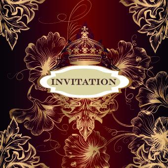 ornate invitation design vector set