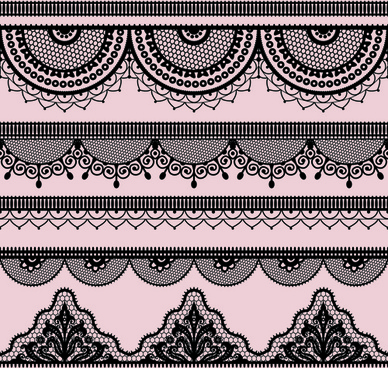 ornate lace border design vector set