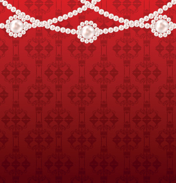 ornate pearl with red background vector