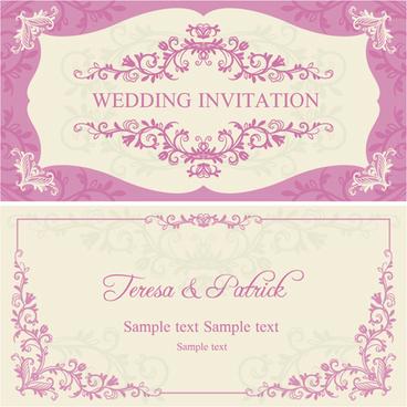 ornate pink floral wedding invitations vector
