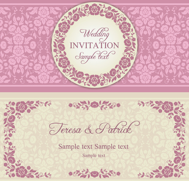 Floral wedding invitation background free vector download 50580 ornate pink floral wedding invitations vector stopboris Choice Image
