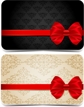 ornate red bow cards vector