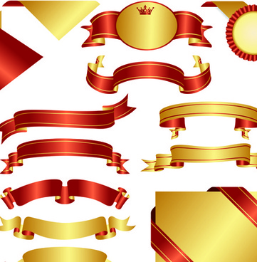 ornate ribbon and labels vector