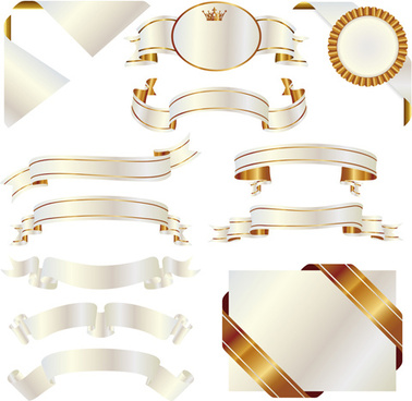 ornate ribbon with gold labels vector