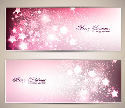 ornate stars with holiday banners vector