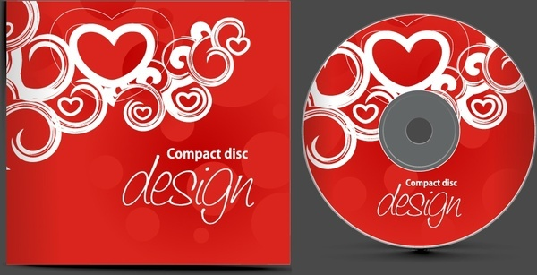compact disc templates romantic red hearts decor