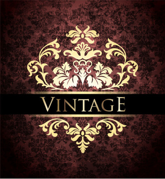 ornate vintage golden frame backgrounds vector
