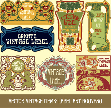 ornate vintage labels creative vector set