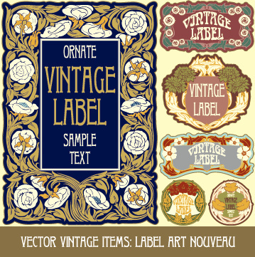 ornate vintage labels creative vector set