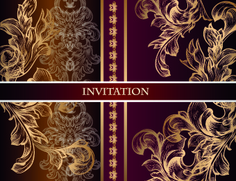 ornate wedding invitation card vector