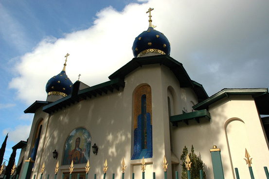 orthodox church of all russian saints approaching from el camino real burlingame calfornia usa