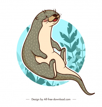 otter animal icon classical handdrawn sketch