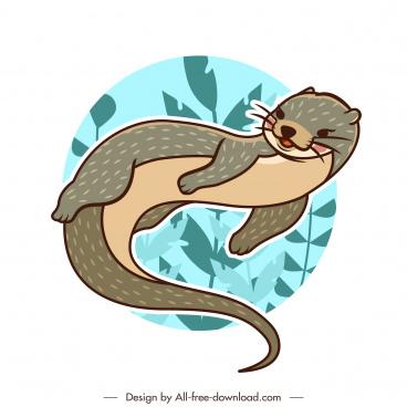 otter animal icon classical handdrawn sketch cartoon design