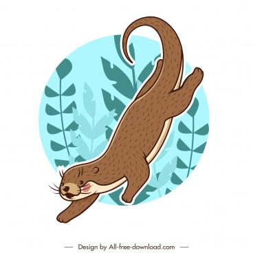 otter animal icon handdrawn sketch dynamic cartoon