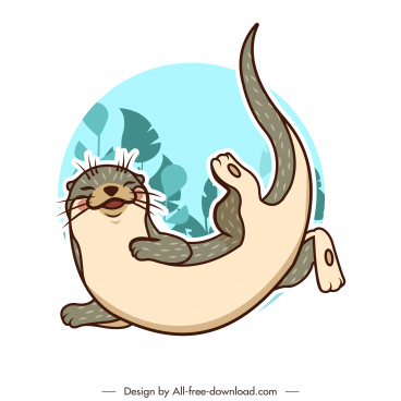 otter species icon flat classical handdrawn cartoon sketch