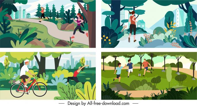 outdoor activities background templates colorful cartoon sketch