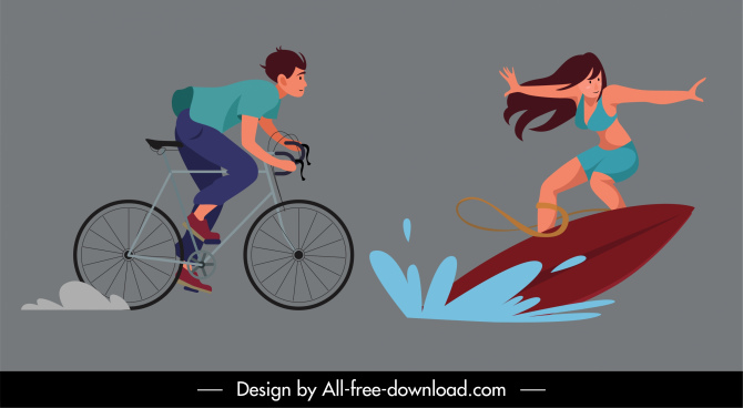 outdoor activities icons cycling surfboard sketch dynamic cartoon