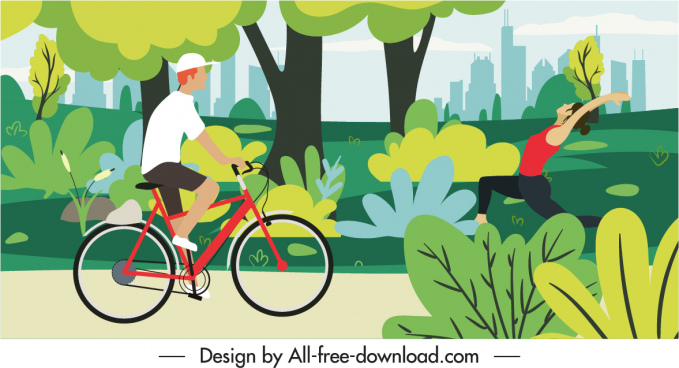 outdoor activity painting bright colorful cartoon sketch
