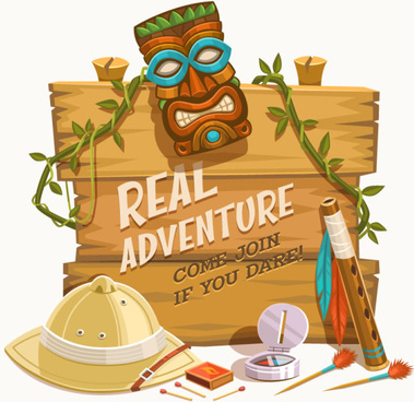 outdoor adventure wooden board background