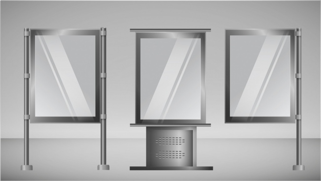 outdoor advertising panel sets shiny grey vertical style