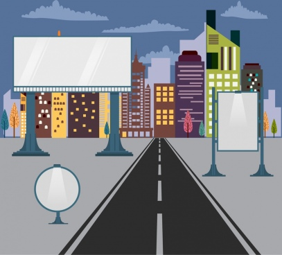 outdoor advertising panels various shiny styles city background