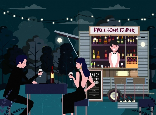 outdoor bar drawing elegant guests booth cartoon design