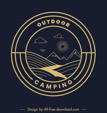 outdoor camping logotype dark flat nature elements sketch