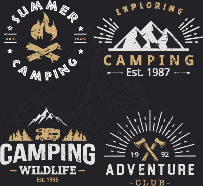 outdoor camping logotypes retro design mountain fire icons
