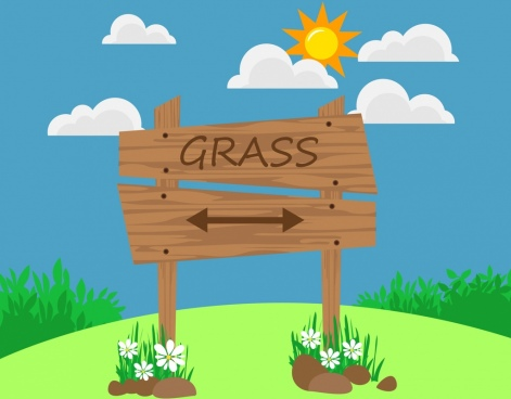 outdoor grass hill background navigation wooden signboard icon
