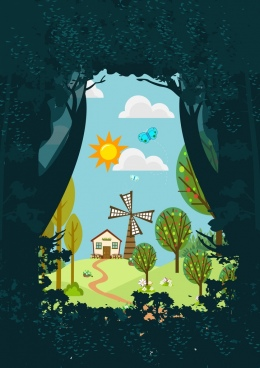 outdoor landscape background farmland forest icons decoration