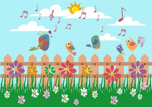 outdoor nature background singing birds grass flora icons