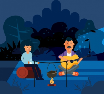 outdoor picnic drawing man woman campfire icons