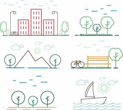 outdoor sceneries outline colorful flat design