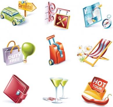 travel design elements modern 3d symbols