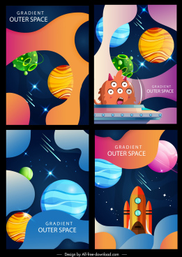 outer space background colorful planets spaceship aliens decor