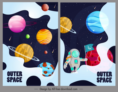 outer space backgrounds colorful planets spaceman decor