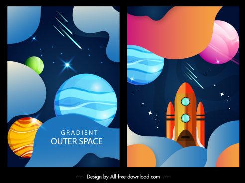 outer space backgrounds multicolored modern planets spaceship design